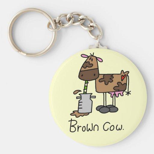 Camisetas y regalos de la vaca de Brown Llavero Redondo Tipo Pin