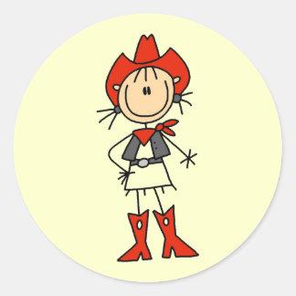 Camisetas y regalos de la vaquera de Red Hat Pegatina Redonda