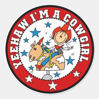 Camisetas y regalos de la vaquera del Haw de Yee Pegatina Redonda
