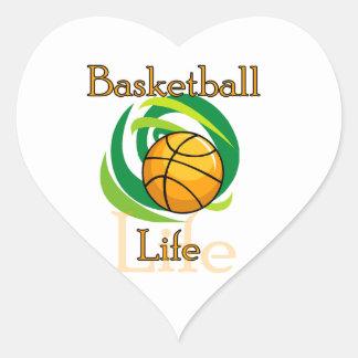 Camisetas y regalos de la vida del baloncesto calcomania corazon