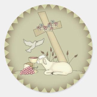 Camisetas y regalos de las ovejas de los niños etiqueta redonda
