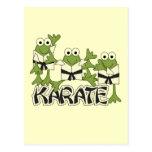 Camisetas y regalos de las ranas del karate tarjeta postal