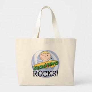 Camisetas y regalos de las rocas que practican sur bolsa tela grande
