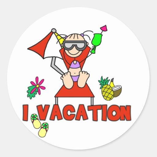 Camisetas y regalos de las vacaciones del chica I Pegatina Redonda