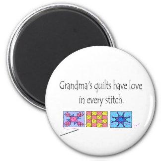 Camisetas y regalos de los edredones de la abuela imán redondo 5 cm