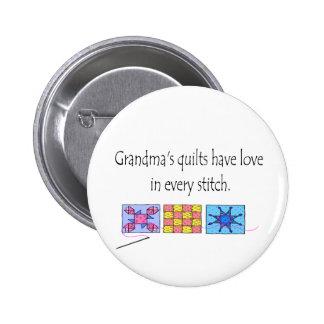 Camisetas y regalos de los edredones de la abuela pin redondo de 2 pulgadas