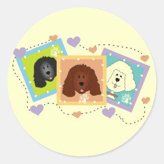 Camisetas y regalos de los retratos del perro pegatina redonda