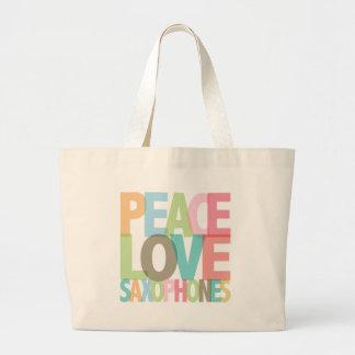 Camisetas y regalos de los saxofones del amor de l bolsa lienzo