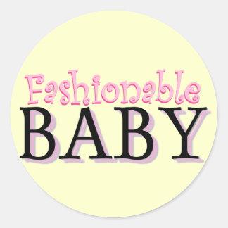 Camisetas y regalos de moda del bebé etiqueta redonda