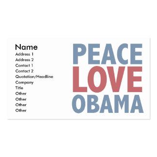 Camisetas y regalos de Obama del amor de la paz Tarjetas De Visita