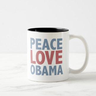 Camisetas y regalos de Obama del amor de la paz Taza De Café De Dos Colores