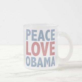 Camisetas y regalos de Obama del amor de la paz Taza De Café Esmerilada