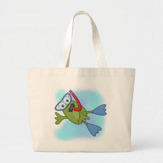 Camisetas y regalos de Snorkeler de la rana Bolsa