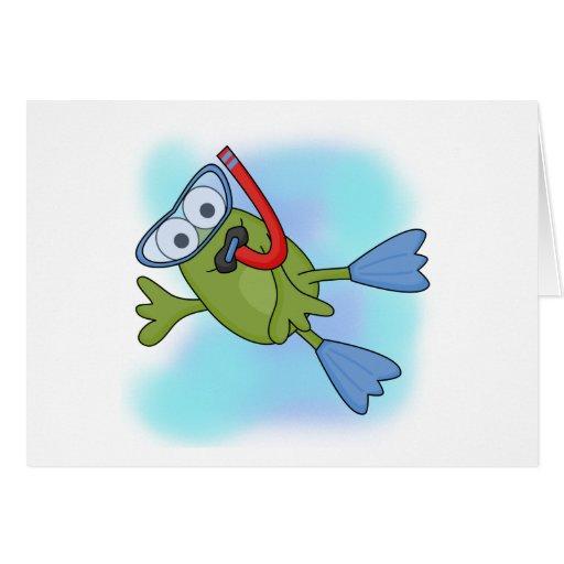 Camisetas y regalos de Snorkeler de la rana Tarjeta