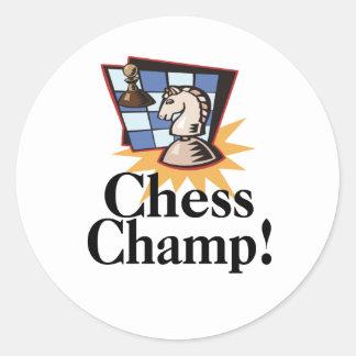 Camisetas y regalos del ajedrez pegatina redonda