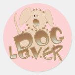 Camisetas y regalos del amante del perro de Brown Pegatinas Redondas