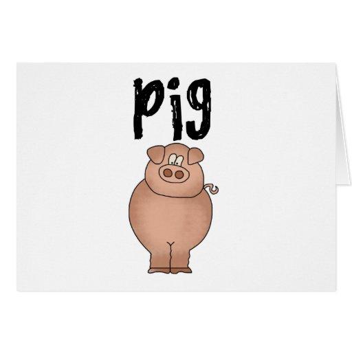 Camisetas y regalos del animal del campo de cerdo tarjeta de felicitación