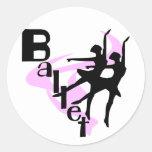 Camisetas y regalos del ballet de la silueta pegatinas redondas