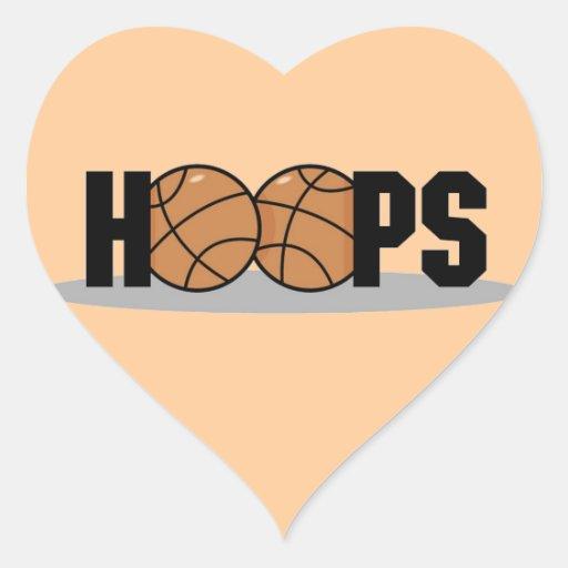 Camisetas y regalos del baloncesto de los aros calcomanías de corazones