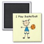 Camisetas y regalos del baloncesto del juego del c imán cuadrado