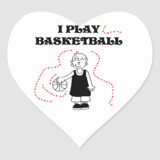 Camisetas y regalos del baloncesto del juego del calcomanía corazón personalizadas