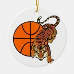 Camisetas y regalos del baloncesto del tigre ornamento de navidad