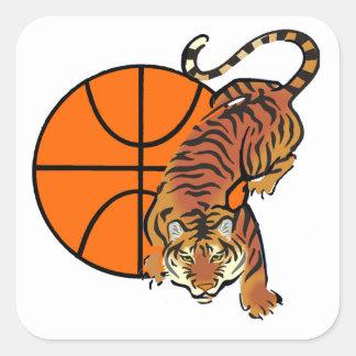 Camisetas y regalos del baloncesto del tigre pegatina cuadrada