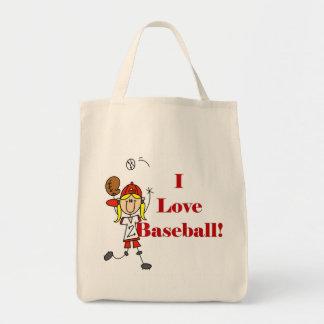 Camisetas y regalos del béisbol del amor del chica bolsa tela para la compra