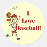 Camisetas y regalos del béisbol del amor del chica etiqueta