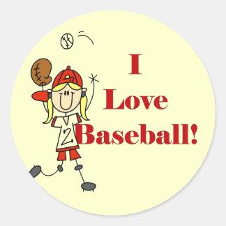 Camisetas y regalos del béisbol del amor del chica etiqueta redonda