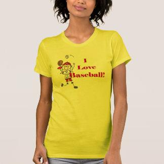 Camisetas y regalos del béisbol del amor del chica playeras
