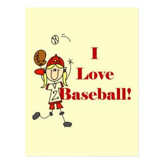 Camisetas y regalos del béisbol del amor del chica postal