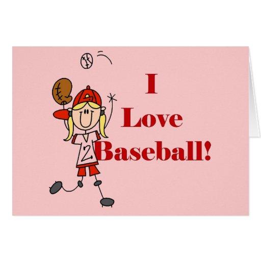 Camisetas y regalos del béisbol del amor del chica tarjeta de felicitación