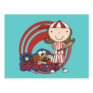 Camisetas y regalos del béisbol del chica de los tarjeta postal