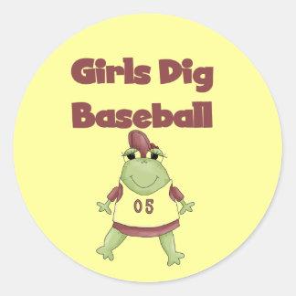 Camisetas y regalos del béisbol del empuje de los pegatina redonda