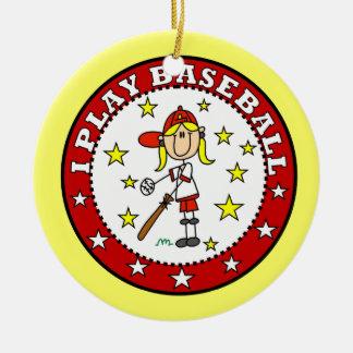 Camisetas y regalos del béisbol del juego del adorno navideño redondo de cerámica