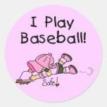 Camisetas y regalos del béisbol del juego del etiquetas redondas