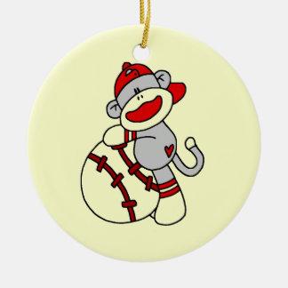 Camisetas y regalos del béisbol del mono del adorno navideño redondo de cerámica