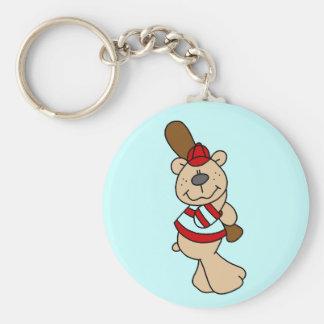 Camisetas y regalos del béisbol del oso llavero redondo tipo chapa
