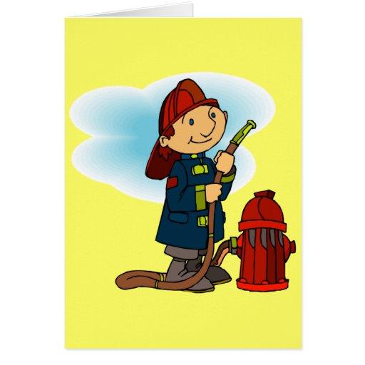 Camisetas y regalos del bombero de los niños tarjeta de felicitación