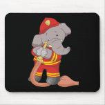 Camisetas y regalos del bombero del elefante alfombrilla de ratones