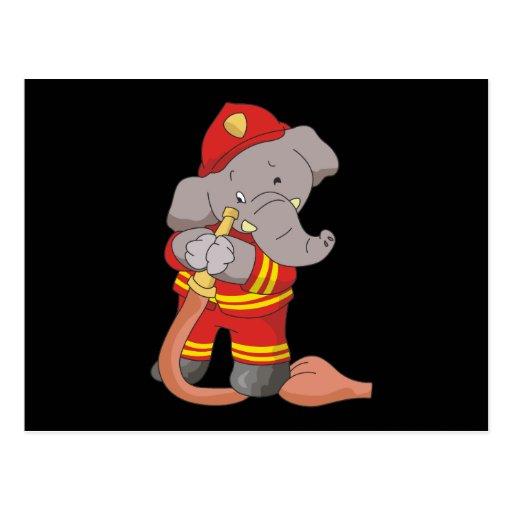Camisetas y regalos del bombero del elefante postal