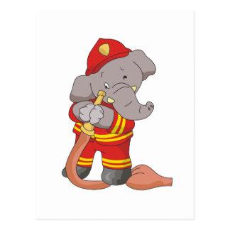 Camisetas y regalos del bombero del elefante tarjeta postal
