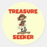 Camisetas y regalos del buscador del tesoro del pegatinas redondas