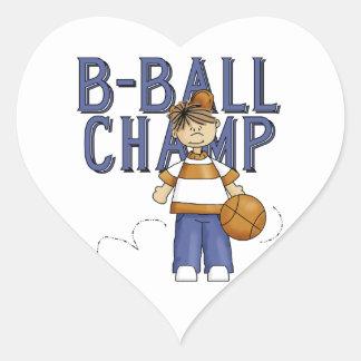 Camisetas y regalos del campeón de BBall Pegatina En Forma De Corazón