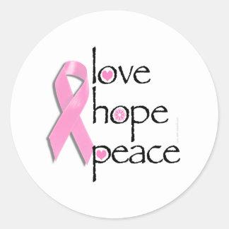 Camisetas y regalos del cáncer de pecho de la paz pegatina redonda