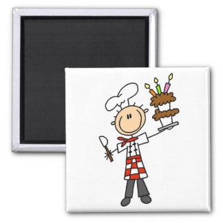 Camisetas y regalos del chef de repostería imán cuadrado