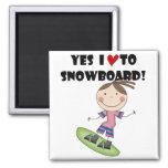 Camisetas y regalos del chica de la snowboard iman