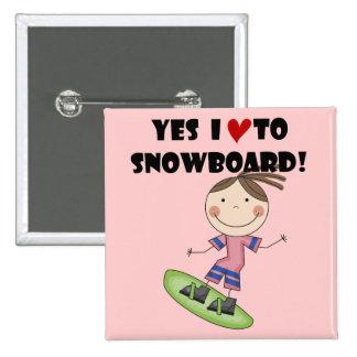 Camisetas y regalos del chica de la snowboard pins