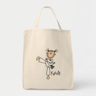 Camisetas y regalos del chica del karate bolsa tela para la compra